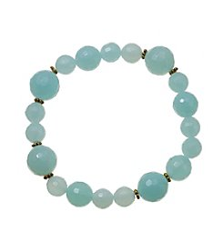 Dyed Sea Blue Glass Beads Stretch Bracelet In Gold Over Sterling Silver