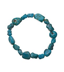 Genuine Turquoise Nugget Stretch Bracelet In Gold Over Sterling Silver