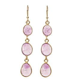 Genuine Amethyst Bezel Drop Earrings In Gold Over Sterling Silver