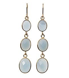 Dyed Blue Agate Bezel Drop Earrings In Gold Over Sterling Silver
