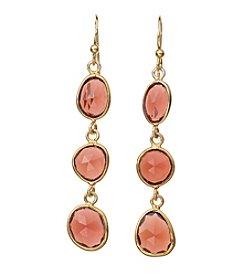 Dyed Genuine Garnet Bezel Drop Earrings In Gold Over Sterling Silver