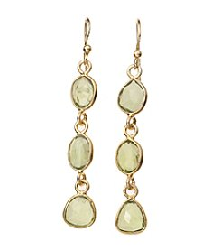 Genuine Peridot Bezel Drop Earrings In Gold Over Sterling Silver