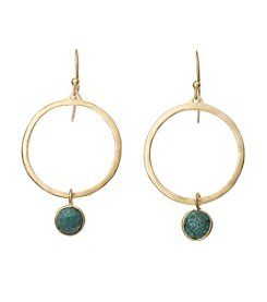 Dyed Green Bezel Earrings In Gold Over Sterling Silver