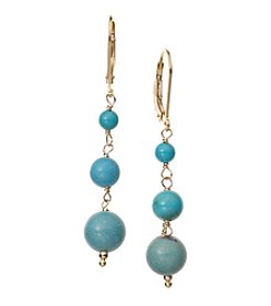 Genuine Turquoise Beads Linking Drop Earrings In Gold Over Silver