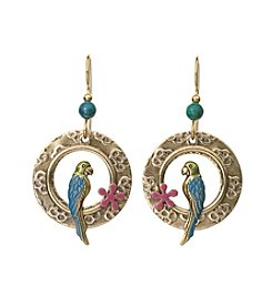 Silver Forest® Goldtone Parrot And Flower Earrings
