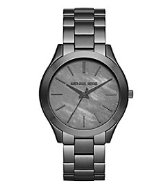 Michael Kors® Women's Gunmetal Slim Runway Watch With A Grey Mother Of Pearl Dial