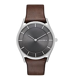 Skagen Denmark Women's Holst Watch In Silvertone With Dark Brown Leather Strap And Gray Dial