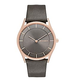 Skagen Denmark Women's Holst Watch In Rose Goldtone With Grey Leather Strap