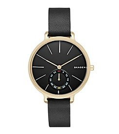 Skagen Women's Hagen Watch in Goldtone with Black Leather Strap and Black Dial