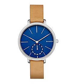 Skagen Denmark Women's Hagen Watch In Silvertone With Light Brown Leather Strap And Blue Dial