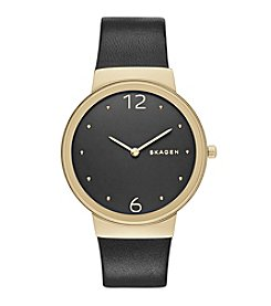 Skagen Denmark Women's Freja Watch In Goldtone With Black Leather Strap And Black Dial