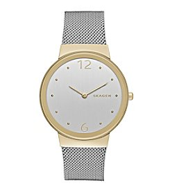 Skagen Denmark Women's Freja Watch In Two Tone With Mesh Bracelet