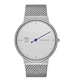 Skagen Denmark Men's Ancher Mono Watch In Silvertone With Mesh Bracelet