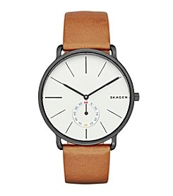 Skagen Denmark Men's Hagen Watch In Blacktone With Brown Leather Strap