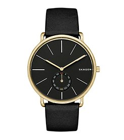 Skagen Denmark Men's Hagen Watch In Goldtone With Black Leather Strap And Black Dial