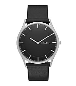 Skagen Denmark Men's Slim Holst Watch In Silvertone With Black Leather Strap And Black Dial
