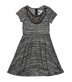 Rare Editions® Girls' 7-16 Short Sleeve Dress With Metallic Embellishment