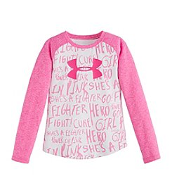 Under Armour® Girls' 2T-6X UA Power in Pink® Raglan Logo Tee