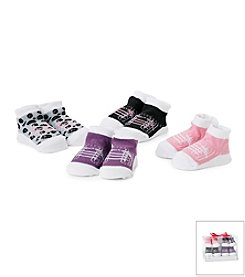Cuddle Bear® Baby Girls' 4-Pack Sneaker Socks