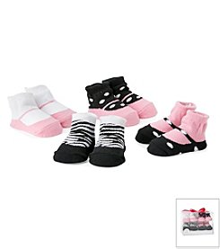 Cuddle Bear® Baby Girls' 4-Pack Ballet Slipper Socks