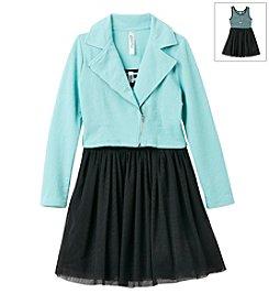 Beautees Girls' 7-16 Dress With Moto Jacket