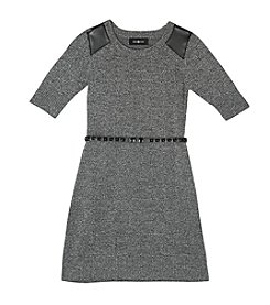 Amy Byer Girls' 7-16 Sweater Dress With Faux Leather Detail