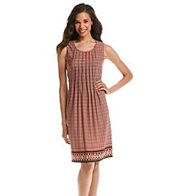 Perceptions Pleated Front Border Dress