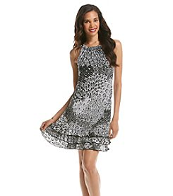 MSK® Foil Pailsey Feather Tiered Hem Dress