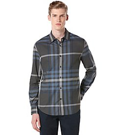 Perry Ellis Men's Long Sleeve Plaid Button Down