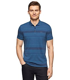 Calvin Klein Men's Short Sleeve Heathered Stripe Polo