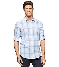 Calvin Klein Men's Long Sleeve Plaid Button Down Shirt