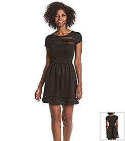 Trixxi® Scuba Mesh Inset Skater Dress