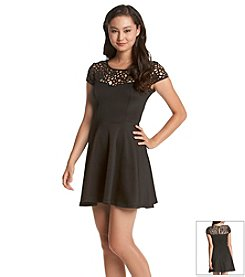 Trixxi® Lasercut Yoke Skater Dress