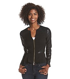 XOXO® Faux Leather Peplum Jacket