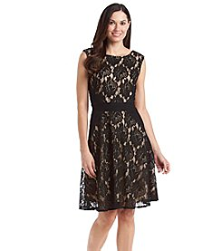 Julian Taylor Cap Sleeve Lace Dress