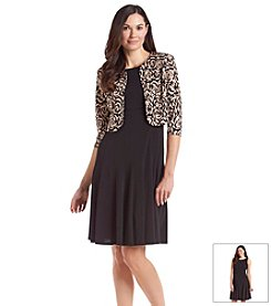 Jessica Howard® Printed Fit And Flare Solid Jacket Dress
