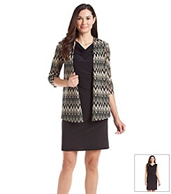 Perceptions Chevron Lace Cardigan Dress