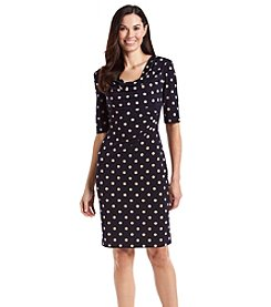Connected Draped Neck Dot Dress