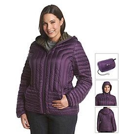 Halifax Plus Size Short Hooded Packable Down Coat
