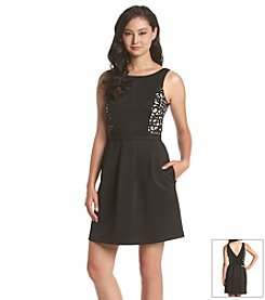 Jessica Simpson Laser Cut Fit And Flare Dress