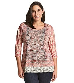 Oneworld® Plus Size Scoopneck Top With Lace