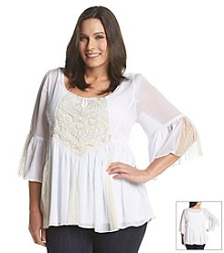 Oneworld® Plus Size Bell Sleeve Top