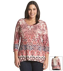 Oneworld® Plus Size Scoopneck High-Low Tee