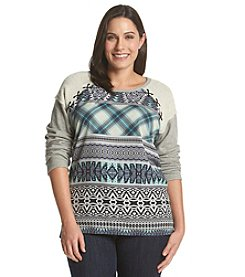 Democracy Plus Size Laced Woven Sweatshirt