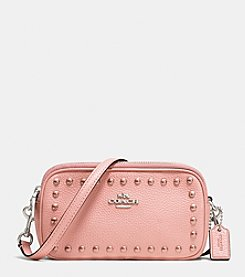 COACH CROSSBODY POUCH IN LACQUER RIVETS PEBBLE LEATHER