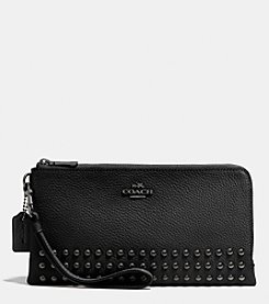 COACH DOUBLE ZIP WALLET IN LACQUER RIVETS PEBBLE LEATHER