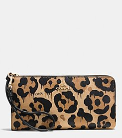 COACH ZIP WALLET IN WILD BEAST PRINT LEATHER