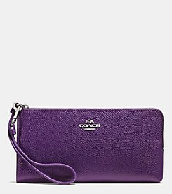 COACH ZIP WALLET IN BICOLOR PEBBLE LEATHER