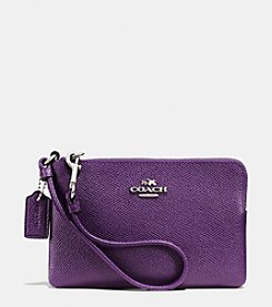COACH CORNER ZIP WRISTLET IN BICOLOR CROSSGRAIN LEATHER