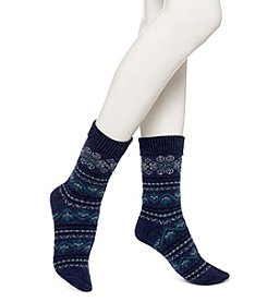 HUE® Fair Isle Boot Socks - Denim Heat